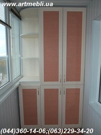 Шафа на балкон (Шафа балконна) ДСП - Еггер Клен канадський кремовий Фасад – МДФ профіль Дуб молочний Наповнення – Ротанг натуральний
