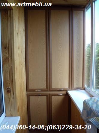 Шафа на балкон (Шафа балконна) ДСП - дуб ясний, Фасад – МДФ профіль горіх Наповнення – ДСП 10мм