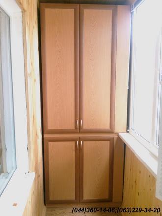 Шафа на балкон (Шафа балконна) ДСП - дуб ясний, Фасад – МДФ профіль дуб Наповнення – ДСП 10мм