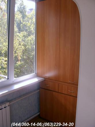Шафа на балкон (Шафа балконна) з відкидним столом ДСП - Вишня Оксфорд