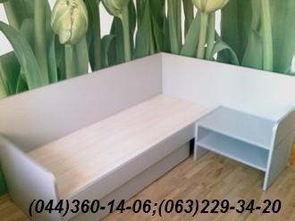 Меблі в спальню. Дитяча кімната Ліжко + тумба ДСП - Алюміній 22мм