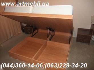 Меблі в спальню. Ліжко з підйомним механізмом ДСП Еггер - Кальвадос натуральний