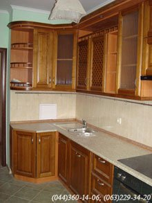 Kitchen - natural wood facades