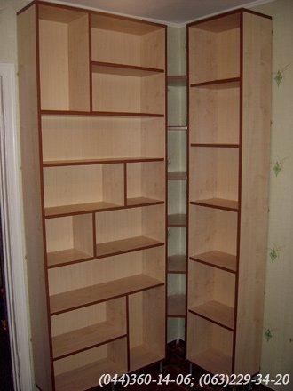 Книжкові полиці ДСП - клен Танзау ПВХ 2мм – горіх