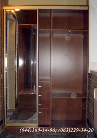 Шафа-купе – з одними дверима ДСП - горіх Еко, Система – ADS Золото Дзеркало – срібло