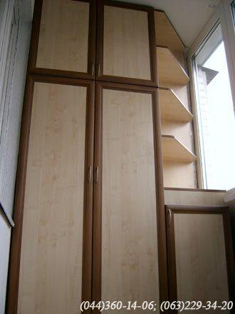 Шафа на балкон (Шафа балконна) ДСП – клен, МДФ профіль горіх, Наповнення – ДСП 10мм