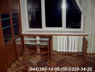 Стінка в квартиру меблева Гірка Полиці з підсвічуванням, Рамка Тик, наповнення - Бамбук натуральний, скло, грати – бамбук