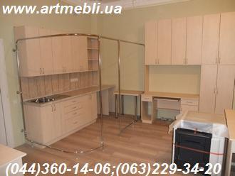 Робоче місце в офісі Стіл, шафа, полиці, офісна кухня ДСП - Еггер, Береза Майнау