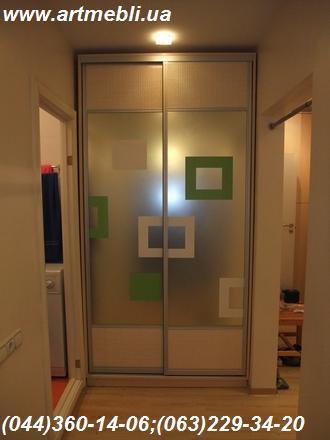 Шафа-купе. ДСП Еггер - Береза Майнау. Система – Срібло, комбіновані двері Дзеркало – з малюнком, ротанг натуральний