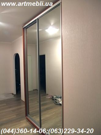 Шафа-купе. ДСП Еггер - Кальвадос червоно-коричневий Система – Срібло, Дзеркало – срібло Бокове дзеркало, рамка яблуня