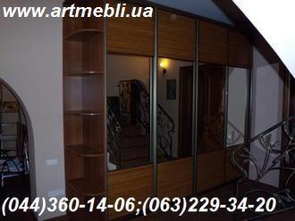 Шафа Купе - Система АДС - бронза, комбіновані двері, наповнення - бамбук натуральний, дзеркало-срібло