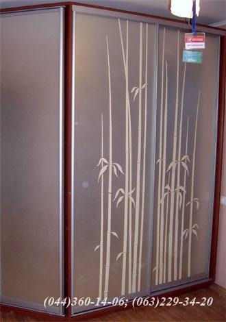 Шафа-купе – трапеція + двері, що відчиняються ДСП - яблуня локарно, Система – Braun (Браун) Срібло Дзеркало – матоване з малюнком