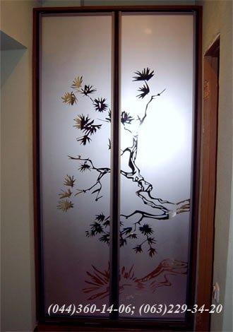 Шафа – двоє дверей, що відчиняються, ДСП - горіх лісовий, Система – ADS Бронза Дзеркало – матоване з малюнком