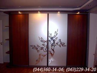 Шафа-купе ДСП - горіх лісовий, Система – ADS  Бронза Двері - Дзеркало – срібло з малюнком