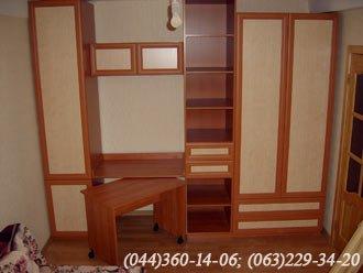 Меблева стінка + стіл ДСП - вишня Оксфорд, Двері - Рамка - вишня, Наповнення - береза біла