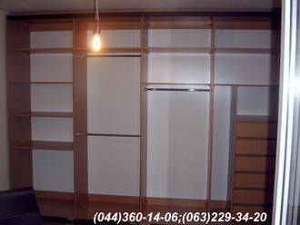 Шафа-купе ДСП - Дуб Ясний, Система – ADS темна бронза Двері комбіновані - дзеркало – срібло + ДСП