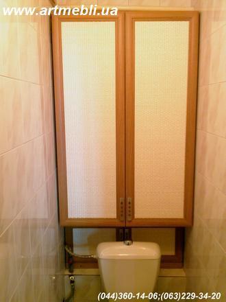 Шафа в Туалет (Шафа туалетна) ДСП - Дуб Ясний. Фасад – МДФ профіль дуб Наповнення – Ротанг натуральний
